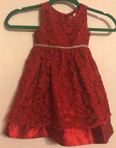 Youngland Girls Lined Embellished Red Lace Dress Size 3T 61% Nylon 39% Rayon