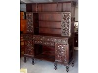 Impressive Antique 19th Century Colonial Hand Carved Rosewood Kitchen Dresser Cabinet Drawers