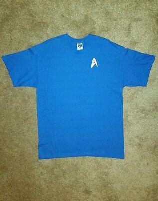 Star Fleet Uniforms (Star Trek T Shirt Spock Science Uniform Fleet Insignia Blue Halloween Costume)