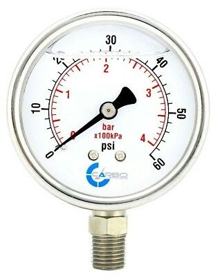 2-12 Pressure Gauge Stainless Steel Case Liquid Filled Lower Mnt 60 Psi