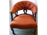 Beautiful Edwardian Button-Back Mahogany Tub Nursing Chair With Russet Upholstery