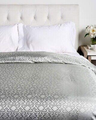 NEW Ann Gish Byzantine Moonstone Aqua / Ivory 100% SILK QUEEN Duvet Cover Bedding