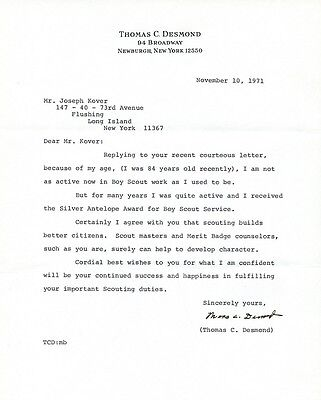 THOMAS C. DESMOND Signed Letter - Ship Engineer