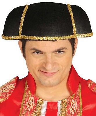 Mens Bull Fighter Matador Black Gold Hat Fancy Dress Costume Outfit Stag - Bullfighter Hat