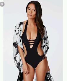 Monokini Cut Out Swimsuit Sexy Black 12/14
