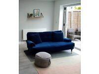 Att Pynta Blanca Sofa Luxury Deep Blue Cotton Velvet 3 Seat Sofa 2 years