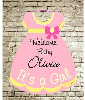 It's a Girl Sign - Baby Birth Announcement - Welcome Home Newborn Door Hanger