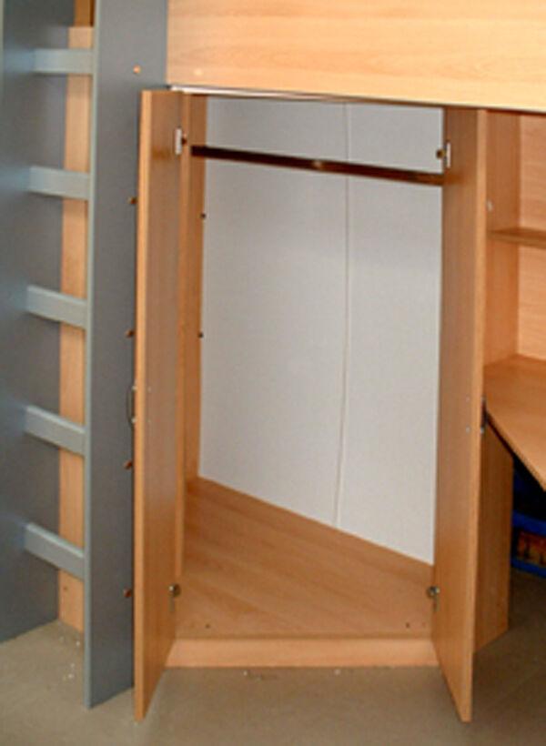 Cabin High Sleeper Bed Desk Wardrobe Drawers R243b New