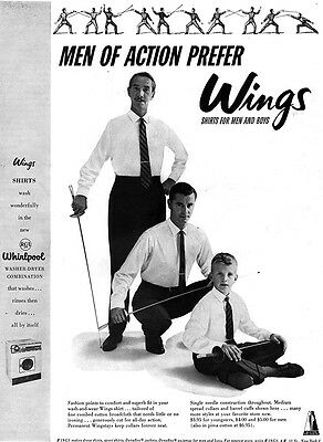 Fencing Substance WINGS SHIRTS FOR MEN AND BOYS Men Of Action 1957 MAGAGZINE AD