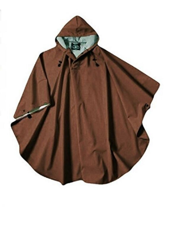 Rain Poncho Coat Chocolate Brown Hood Men Woman Waterproof W