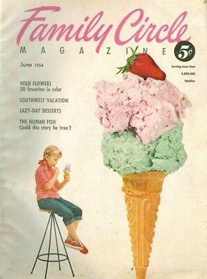1954 Family Circle Magazine  June   Wild Flowers Southwest Vacation Human Fish