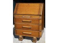 Vintage Solid Oak Art Deco Style Bureau Writing Desk With Three Drawers