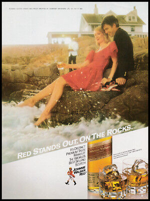Johnnie Walker Red print ad 1983 Red Stands Out. On the Rocks, usado segunda mano  Embacar hacia Argentina