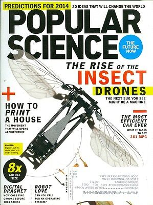 2014 Popular Science Magazine: Insect Drones/Most Efficient Car Ever/3D