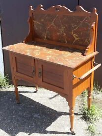 Edwardian Stained Pine Washstand With Marble Top And Splash-Back