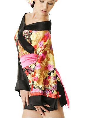 Mini abito kimono donna cintura raso lucido floreale vestito geisha corto nuovo