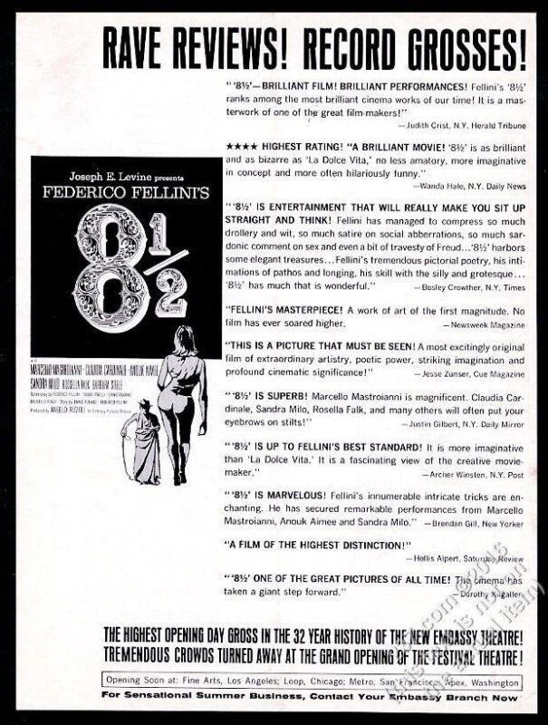 1963 Fererico Fellini 8 1/2 movie release vintage trade print ad