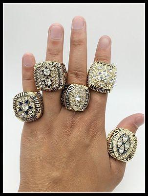 5 Rings   1971 1977 1992 1993 1995 Dallas Cowboys Championship Ring Gif