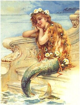 Fairy Fantasy Canvas Art - VICTORIAN LITTLE MERMAID FAIRY FANTASY CANVAS ART PRINT