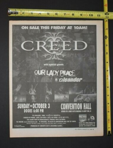 Creed 1999 Concert Newspaper Ad Convention Hall Asbury Park NJ Human Clay