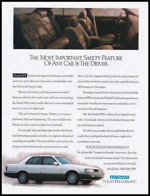 Mazda 929S automobile print ad 1990 white car, interior