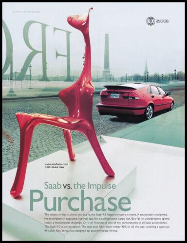 Saab print ad 1999 modern art chair - vs. the impulse purchase