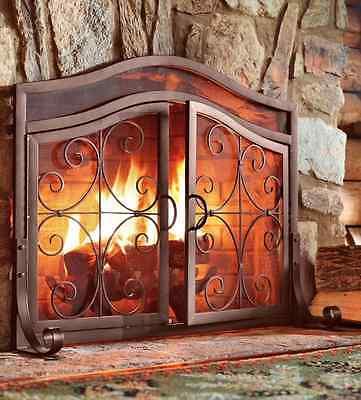 Fireplace Screen Doors Large Brown Firescreen Guard Wrought Iron Ornamental NEW