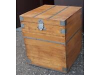 Wooden Storage Box Or Chest Possibly Pine With Metal Hasp On Hinged Lid