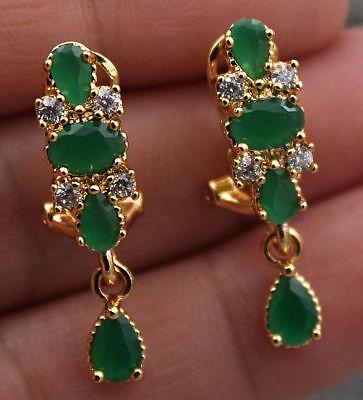 (18K Yellow Gold Filled - Flower Teardrop Emerald Jade Topaz Gems Party Earrings)