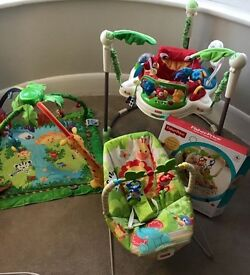 Fisherprice Rainforest jumperoo, play activity mat and bouncy chair