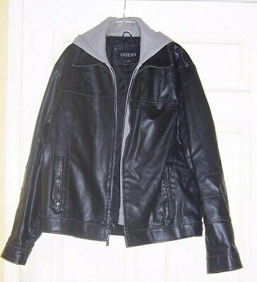 ~~ GUESS ~~BLACK BOMBER LEATHER JACKET WITH ZIP IN GRAY HOODIE SIZE XL