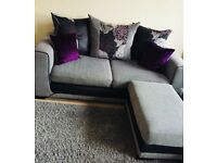 3 seat sofa with matching footstool/ Corner sofa