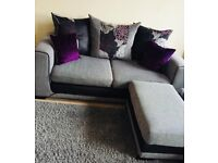 3 seat sofa with matching footstool / Corner sofa