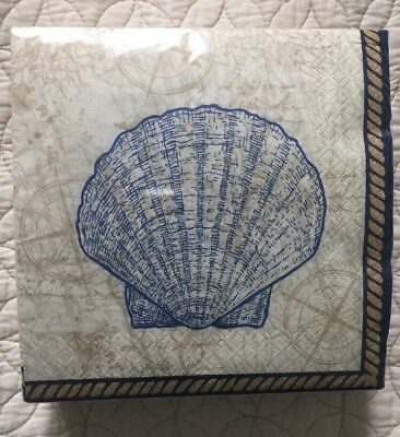 """Creative Converting Set of 40 Luncheon Paper Napkins Sea Shell 12""""x12"""""""