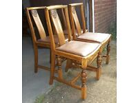Set of Four Vintage Oak Chairs With Tudor Rose Design Shabby Chic Paint Project