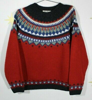 Women's EDDIE BAUER Thick Wool Red Nordic Sweater Sz Large Nordic Wool Sweaters