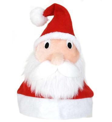 Weihnachtsmütze aus Plüsch mit lustigen Nikolaus Gesicht Santa Claus (Plüsch Santa Mütze)