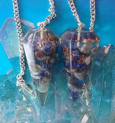 2 POWERFUL ORGONE LAPIS LAZULI POINT DOWSING PENDULUMS  WITH POUCH
