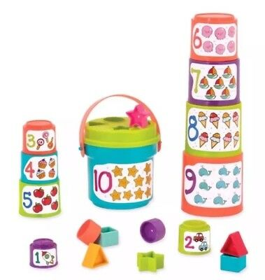 BATTAT Sort & Stack Nesting Cups – Educational Stacking Cups&Numbers BRAND NEW.