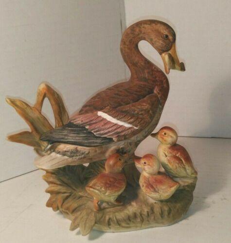 Vintage Royal Crown Ceramic Figurine Duck Feeding Babies Fish