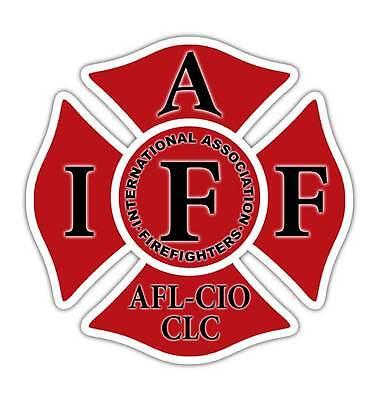 """Red IAFF 4"""" Decal - Firefighter Cross Sticker International"""