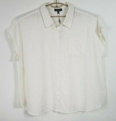 Melissa Paige Womens Shirt Blouse Top Plus Size 1X Cream Linen Rayon Blend Plus Size Linen Blend Shirt