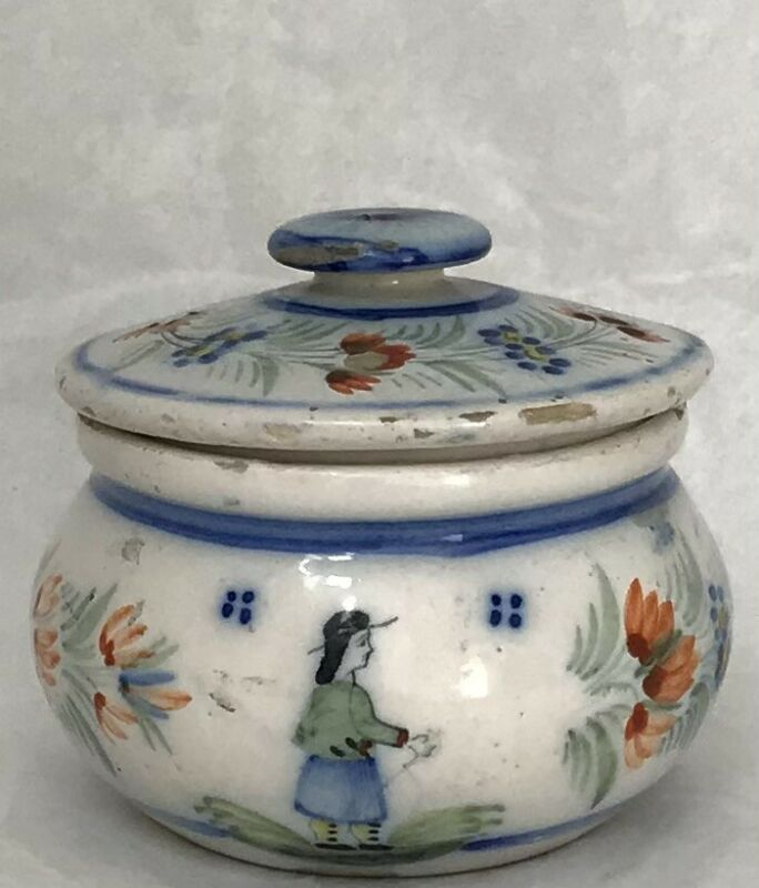 Antique HR Quimper Honey Pot Hand Painted French Faience