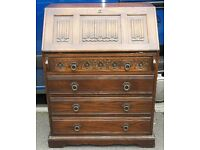 Genuine Wood Bros. Solid Oak Old Charm Bureau Writing Desk With Four Drawers
