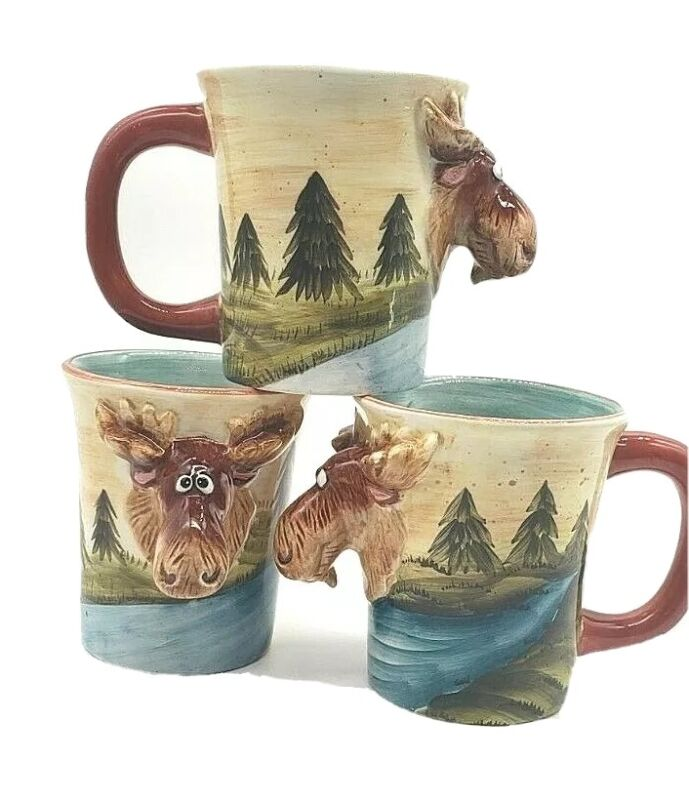3 Figural Moose By Scenic River Coffee Cups