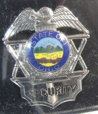 Obsolete New Ira Green Premium Security Officer Badge Shield Ohio Seal 4a1