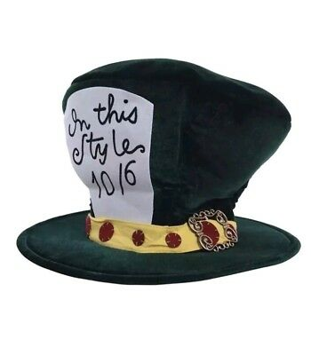 Alice In Wonderland Mad Hatter Classic Green Top Hat Adult Costume Tea Party Classic Mad Hatter Hat
