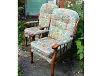 Pair of armchairs and 2 seater settee