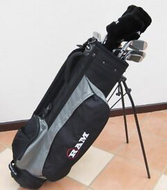Full set of 'Ram' Golf Clubs with 'Ram' Bag and 'Javelin' trolley. In almost brand new condition