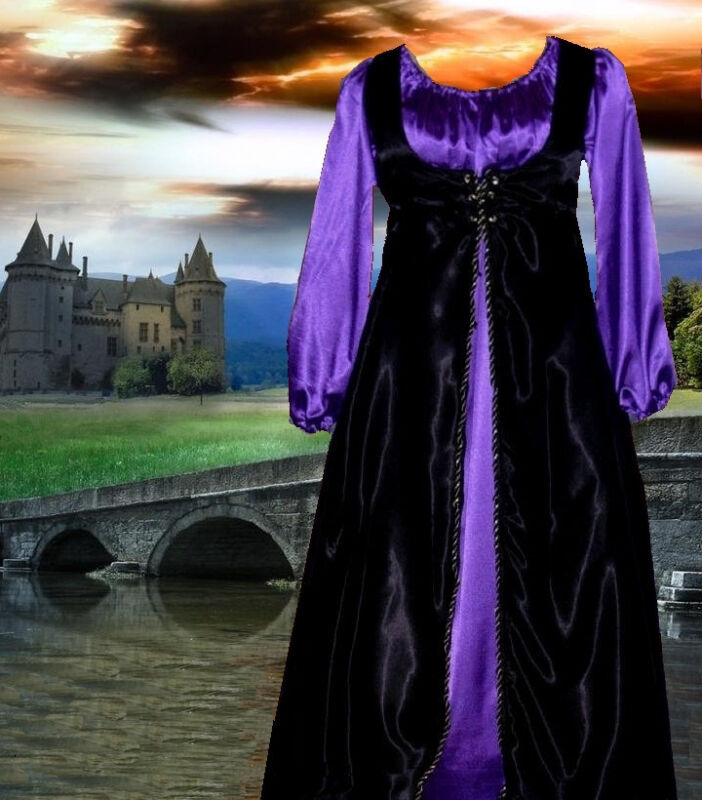 Renaissance Costume Medieval Court Gown SCA Garb PurpBlkSatinFrtLcg2pc LgXL